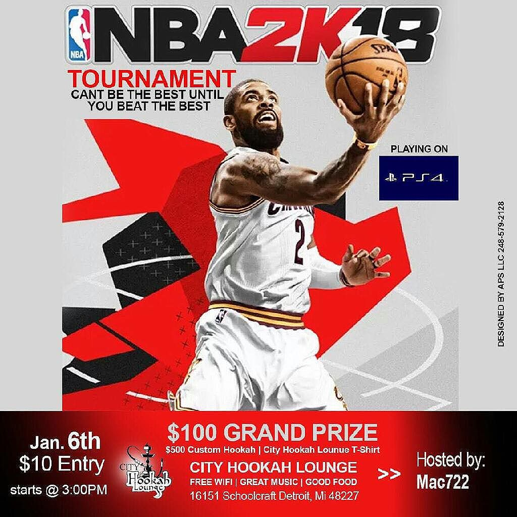 WHERE MY 2K PPL AT? CITY HOOKAH LOUNGE PERSENTS THE 2K18 TOURNAMENT.... HOSTED BY @sc722mac, WITH ONLY 30 SLOTS TO FILL. $10 TO GET IN THE TOURNAMENT, AND A CHANCE TO WIN $100 CASH!!!! A $500 CUSTOM HOOKAH, AND A CITY HOOKAH LOUNGE T-SHIRT. SIGN-UP IS FINAL ON JANUARY 5TH, SO DM @cityhookahlounge, DM @sc722mac, OR CALL CITY HOOKAH LOUNGE @ 313-397-2979! YOU SAID YOU THE BEST, WE'LL SEE... CITY HOOKAH LOUNGE 16151 SCHOOLCRAFT AVE; DETROIT, MI 48227